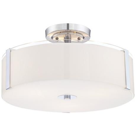 "Possini Euro Design Morrow 16"" Wide Chrome Ceiling Light -"