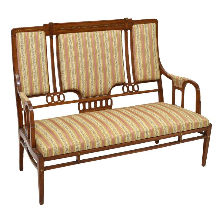 Vintage Art Nouveau Settee Sofa in the Style of Iberto Issel