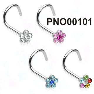 Piercing do nosu PNO00101. Velice krásná a oblíbená zahnutá nostrila je vyrobená z chirurgické oceli 316l a je ozdobená kutičkou, která je osázená barevnými kamínky. Dostupný ve 4 barevných provedeních. http://www.piercingate.cz/piercing-do-nosu-pno00101-1