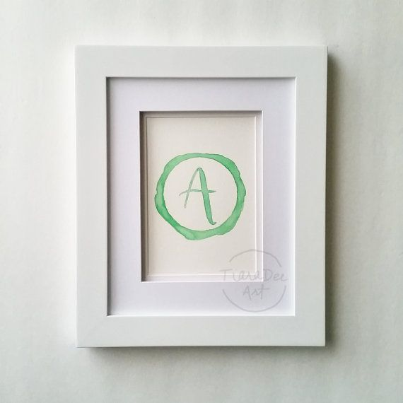 Original Watercolor Letter A  5x7 Monogram Painting by TiaraDeeArt