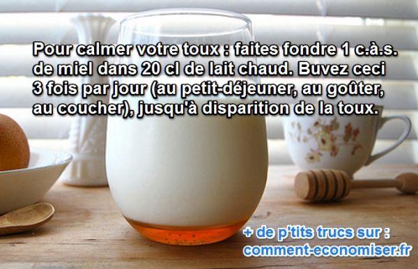 Connaissez-vous le remède le plus simple pour calmer la toux ? Eh bien, c'est le miel, tout simplement.  Découvrez l'astuce ici : http://www.comment-economiser.fr/calmer-toux-lait-miel.html?utm_content=bufferc419d&utm_medium=social&utm_source=pinterest.com&utm_campaign=buffer