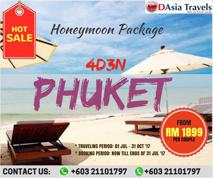HOT SALE !!!  HONEYMOON PACKAGE 4D3N PHUKET HONEYMOON PACKAGE  ONLY FROM RM 1899 per couple !!!  Dont miss a chance to get the best price for honeymoon trip. We are offering promotion and HOT SALE till the ends of July.  Contact us now for booking!!  TRAVELING PERIOD: 01-31 JULY 2017 BOOKING PERIOD: NOW TILL ENDS OF 31 JULY 2017   For more info, 👇 👇 👇 http://www.1dasia.com/holiday-tour-packages/Thailand/Krabi-Island