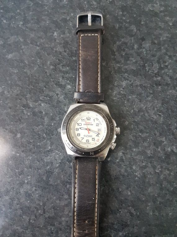 Timex Mens T47902 Expedition Easy Set Alarm Brown Leather Original Strap Watch - Just as new  This is one beautiful Timex Model.  This is the only such model on Etsy and Ebay. LIMITED EDITION!  Perfect for a fancy party or a Gradutation Day!       Swatch Collection : https://www.etsy.com/shop/InstaAntiques?ref=l2-shopheader-name&section_id=20319988    All watches exposed are part of a big collection. I will keep on adding until I reach 1000 watches on Etsy! M...