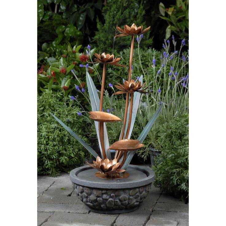 Brass Flowers Outdoor Water Fountain   Overstock.com