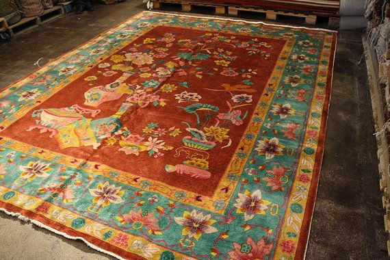 Antique Chinese Rug 8x11 Art Deco 1920s Chinese Rug Rugs Antiques