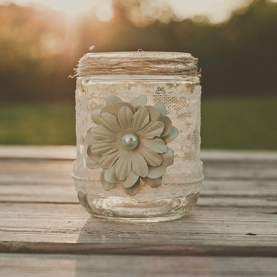 Vintage lace wedding vase guest book pen jar by StyleJarsandCans, $14.00