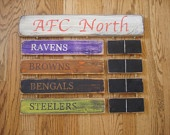 AFC North Standings board Cincinnati Bengals Baltimore Ravens Cleveland Browns Pittsburgh Steelers sign