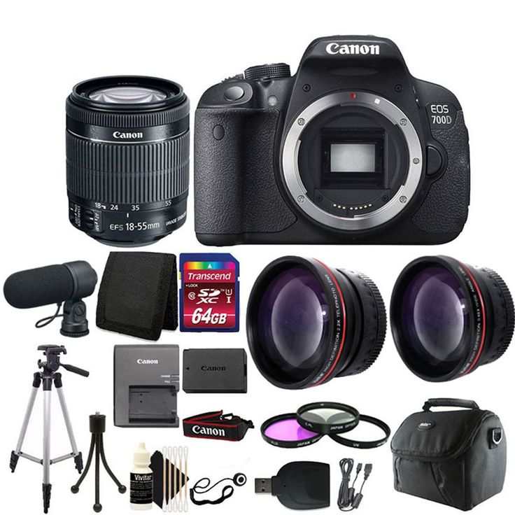 "Canon EOS Rebel 700D/T5i Digital SLR Camera plus Microphone + 64GB Accessory Kit. 18.0 Megapixel Hybrid CMOS AF sensor. Creative Full-HD movies and Hybrid CMOS AF. Vari-angle 3.0"" Clear View LCD II Touch screen, Scene Intelligent Auto. ISO 100-12800 sensitivity, expandable to ISO 25600, 7 Creative filters with live preview. 5 fps shooting 9-point AF system, EOS System of lenses and accessories."