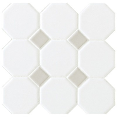 """Daltile Octagon and Dot 12"""" x 12"""" Mosaic in Matte White with Gray Gloss Dot"""