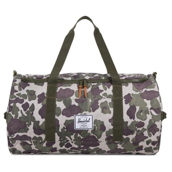 Men's Herschel Supply Co. Sutton Duffel Bag ($70) ❤ liked on Polyvore featuring men's fashion, men's bags, frog camo, mens bag, men's duffel bags, mens duffle bags and mens utility bag
