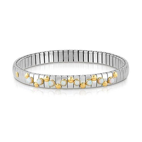 Nomination stainless steel and white opal stretchable bracelet with 18ct gold detail, a distinctive and fashionable look.