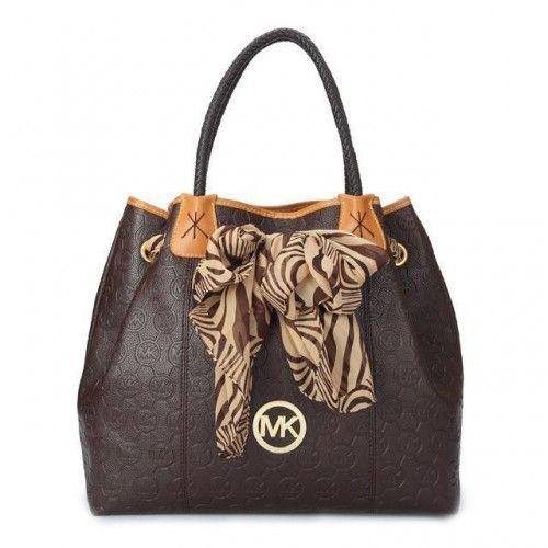 Michael Kors Scarf Jacquard Large Coffee Shoulder Bags