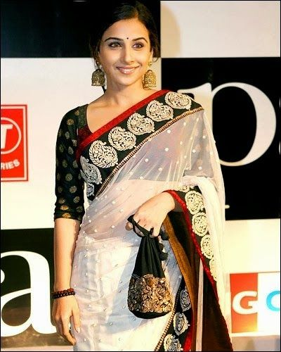 Vidya Balan in Off White #Saree #ReceptionAttires