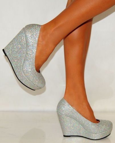Court Shoes Womens Silver Glitter Wedges High Heels Party Sizes
