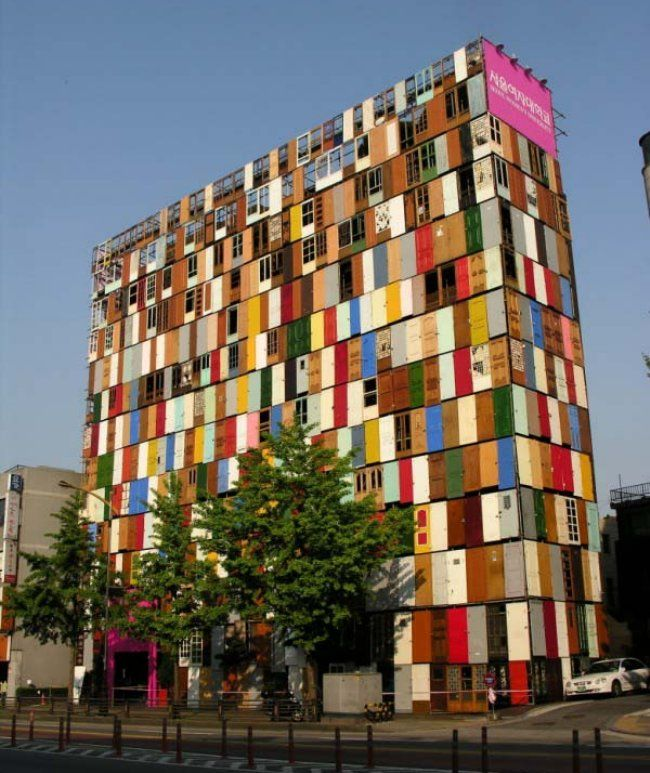http://inspirationgreen.com/assets/images/Blog-Building/Doors/doors%20choi.jpg  A whole building covered in doors!