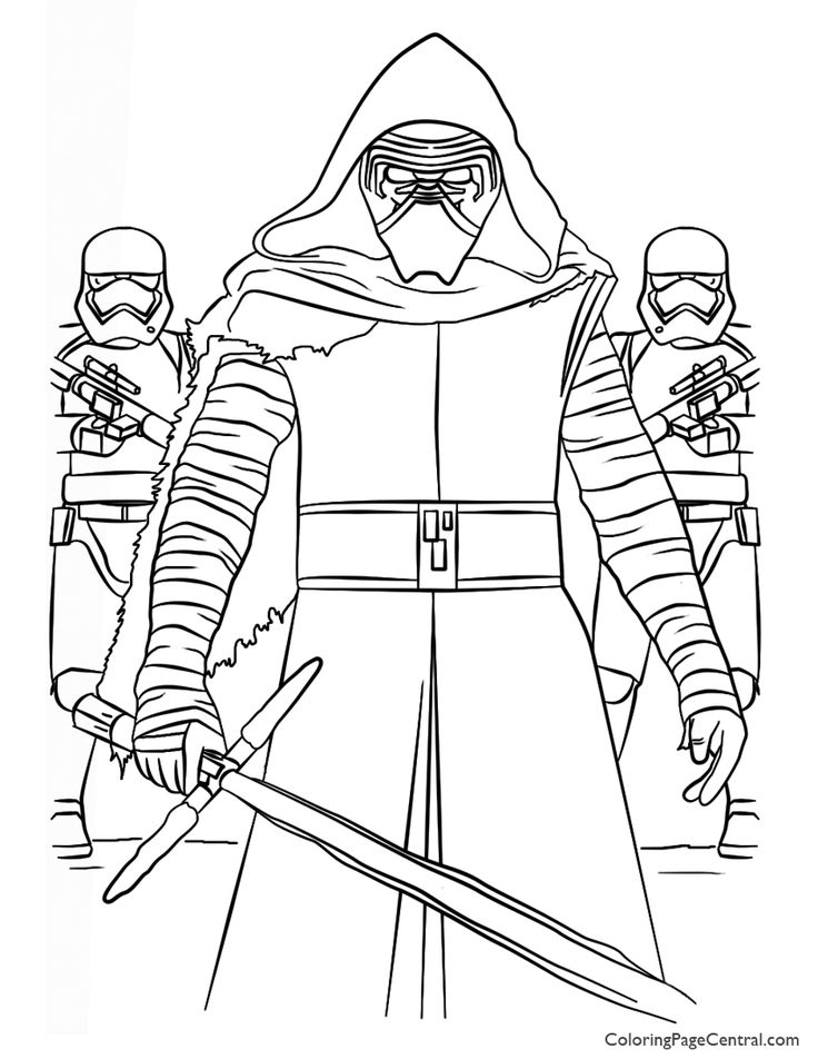 Star Wars Kylo Ren And First Order Coloring Page Coloring Page Central In 2020 Star Wars Coloring Book Lego Coloring Pages Star Wars Colors