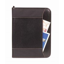 Zippered closure, Front large pocket, Internal: 1 large document pocket and 7 small open pockets, Internal: 1 pen holder and A4 notepad. 600 Denier Nylon and PU Fabric