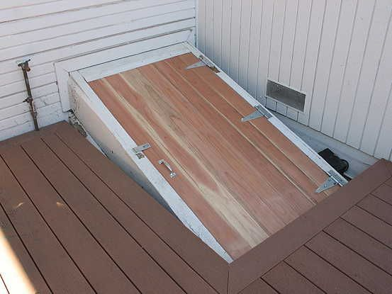 bulkhead door out of tongue and groove siding with added bracing