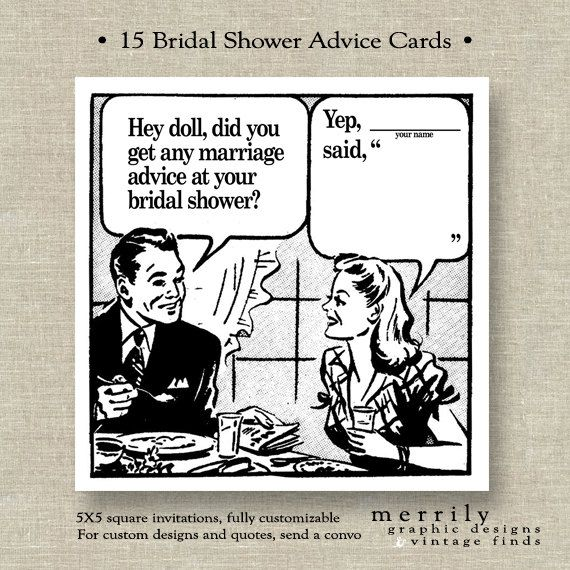 Bridal Shower Advice Cards  Retro Fifties by MERRILYdesigns, $47.50