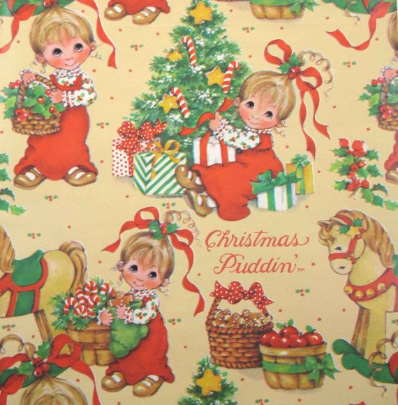 Vintage Christmas Puddin' Wrapping Paper or Gift Wrap with ...