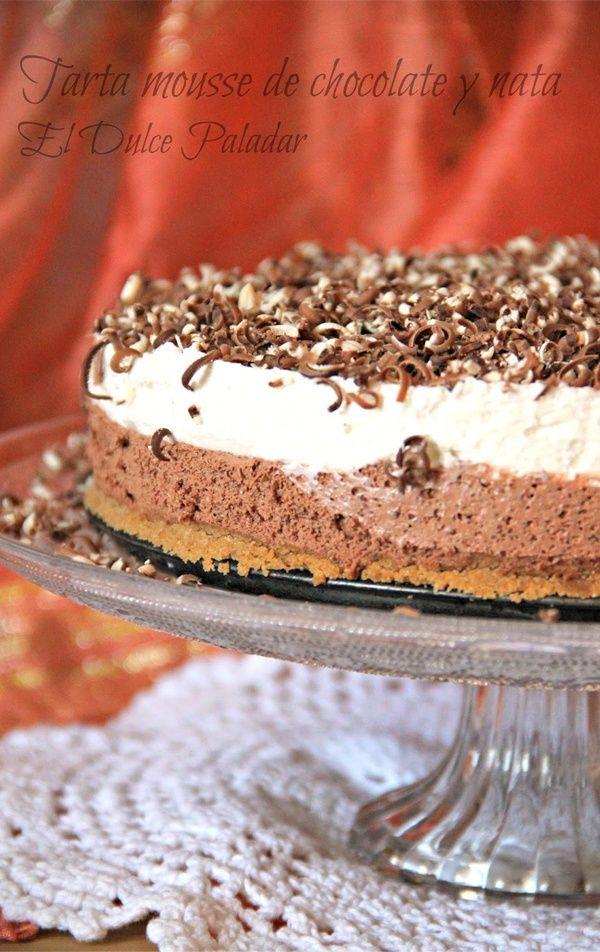 Tarta de mousse de chocolate y nata