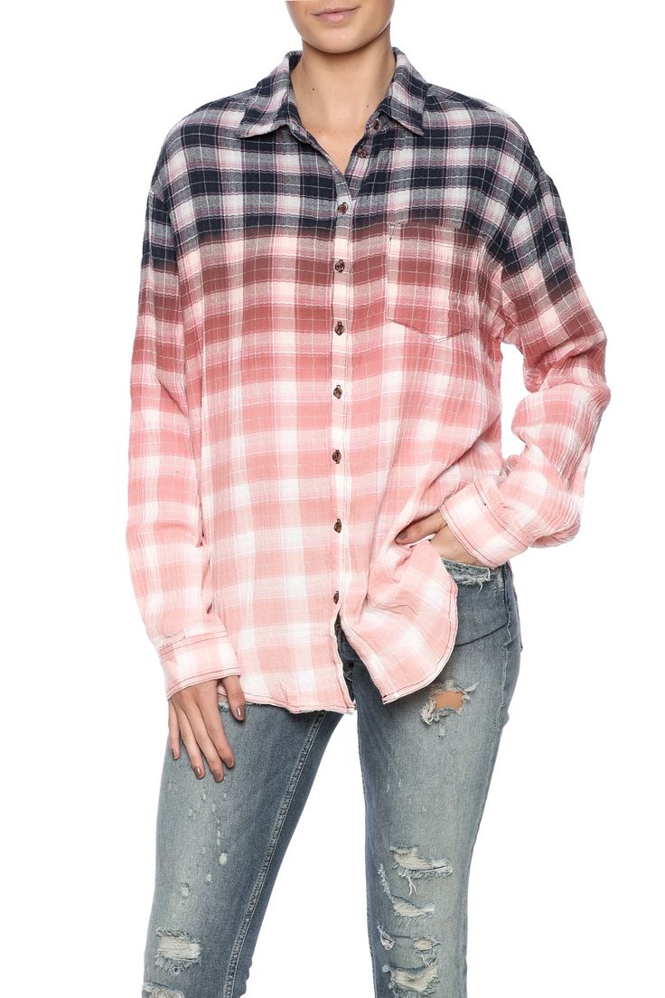 Plaid dip dyed button down top with a front slip pocket and a shirttail hem.   Plaid Dip Dye Top by honey belle. Clothing - Tops - Button Down Clothing - Tops - Long Sleeve New York City Manhattan, New York City