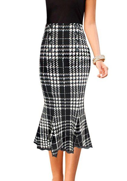Stylish Buttoned Houndstooth Midi Fishtail Skirt                                                                                                                                                                                 More