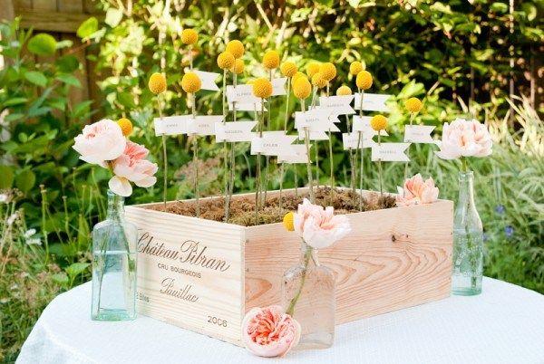 Una cassa di fiori per un tableau de marriage shabby chic