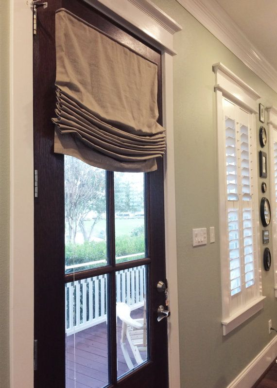 Custom roman shade window treatment relaxed style in for Linen shades window treatments