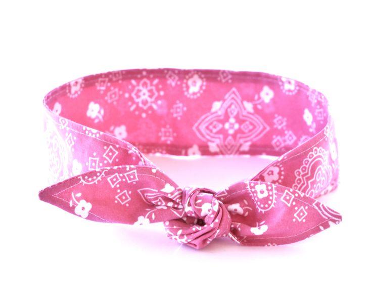 No Wire Dolly Bow Headband PINK Bandana Fabric Rockabilly Pin Up Women Teen Girls Hair Accessory Headscarf Top Knot Headband by Lorettajos on Etsy