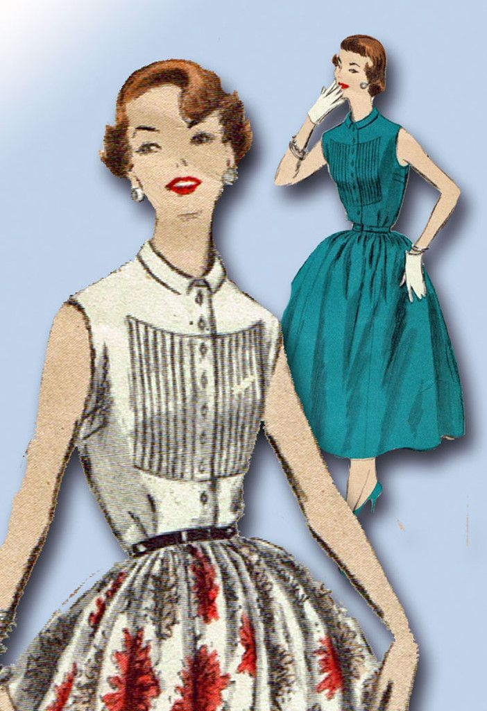 1950s Vintage Vogue Sewing Pattern 8281 Uncut Misses Tucked Dress Size 14 32B