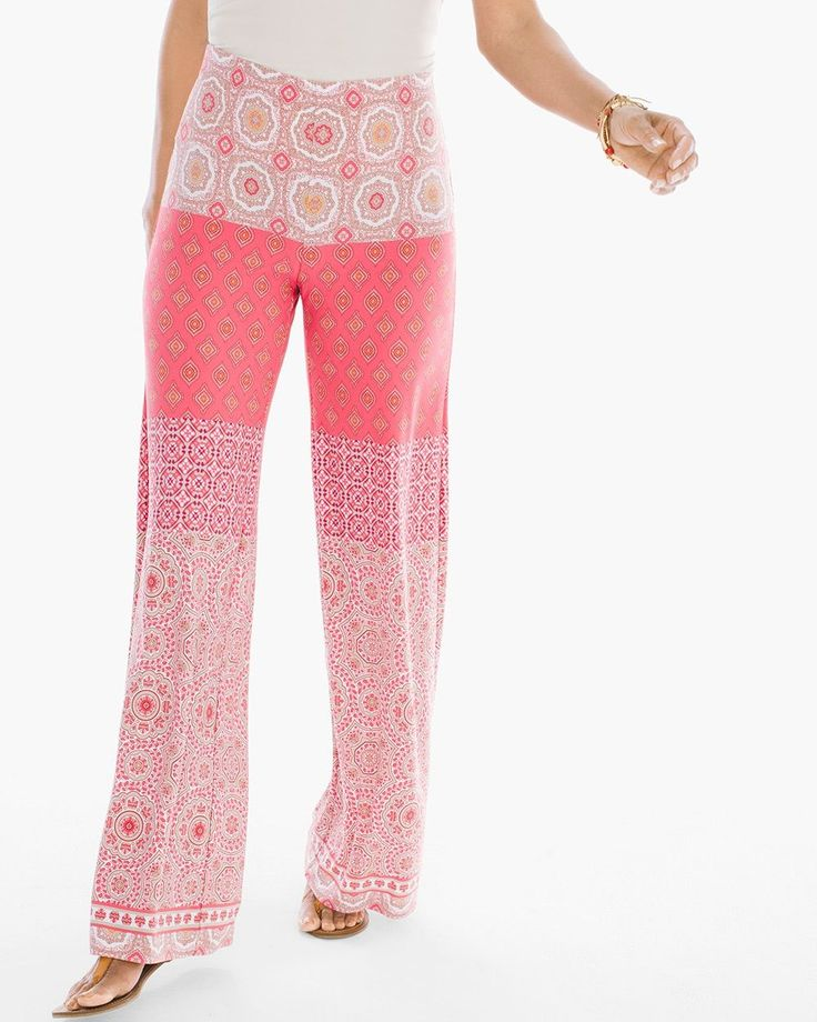 Chico's Women's Cala d'Or Palazzo Pants, Party Punch, Size: 4 (20 - XXL) REG