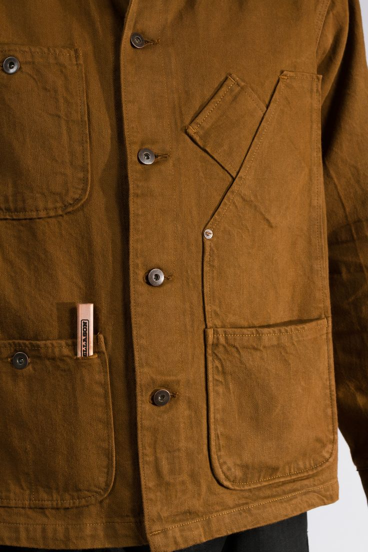 Coverall Jacket - Duck Brown Raw Selvage Denim Jeans