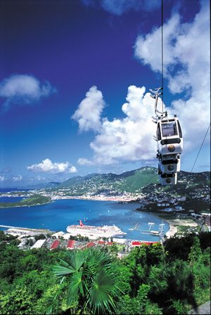 St. Thomas-USVI. I had many great times here! Those sky buckets lead to Paradise Point..the highest view of the island. Breath taking!