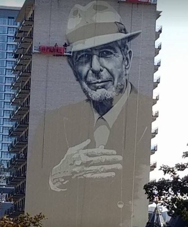 A terrific mural of leonard cohen is almost finished being for Mural leonard cohen