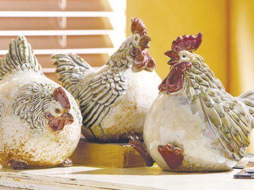 Fat Chicken Ceramic Figurines with Multicolor Glazed Fini...