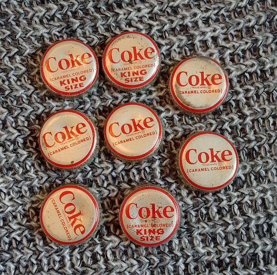 Lot of 8 Vintage Coke Bottle Caps King Size Regular Some Old
