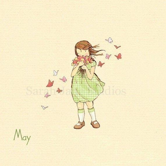 Children's Wall Art Print - May Flowers - 8x8 - Girl Kids Nursery Room Decor  שימי לב שכתוב עליה חודש מאי. אפשר לבחור תמונה לפי חודש הלידה. שמרתי כאן גם אחת של אפריל. אם תכנסי לקישור תראי את היתר