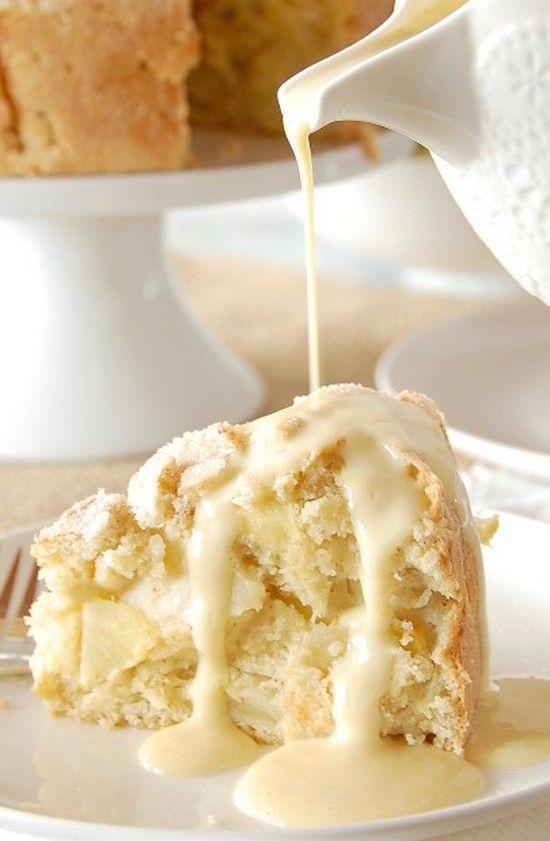 Irish Apple Cake with Custard Sauce - very tender and soft and jam packed with apples. #Recipe #Cake #Irish