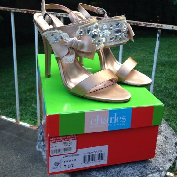 Neutral heeled sandal Champagne satin ankle strap heels sandal with grosgrain ribbon bow and silver jewels. three and a half inch heel. Charles by Charles David. Fancy flirty and fun. Style: Froth.  Color:  blush satin. (Has pale pink undertones & shimmers) Charles David Shoes Heels