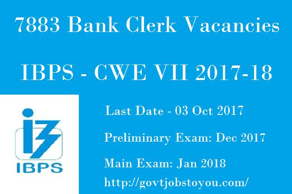 7883 Clerk Jobs in IBPS For Graduated Through CWE VII Recruitment 2018-19