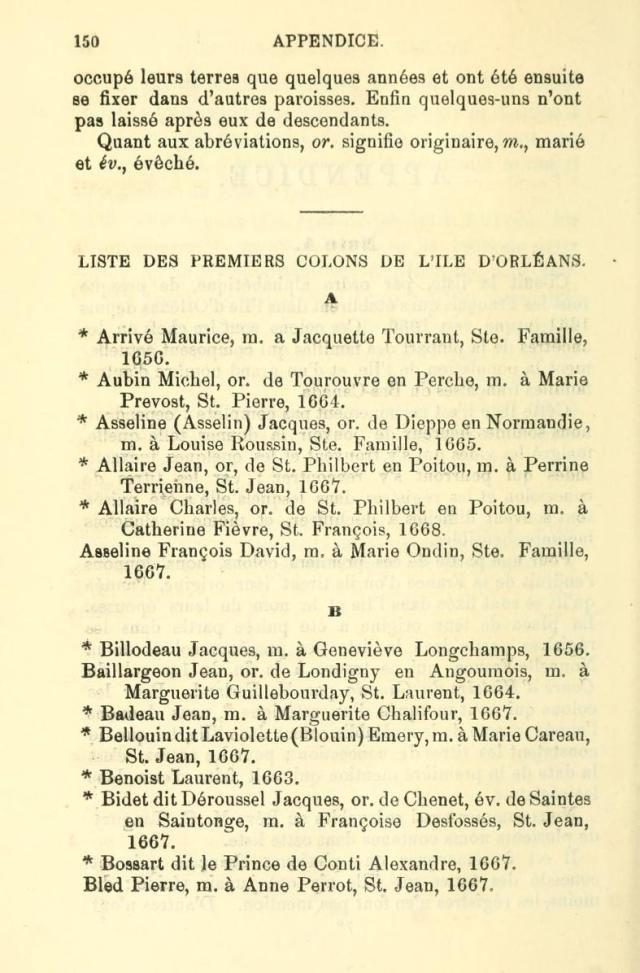Liste Des Premiers Colons De L Ile D Orleans Ancestry Genealogy Genealogy Geneology