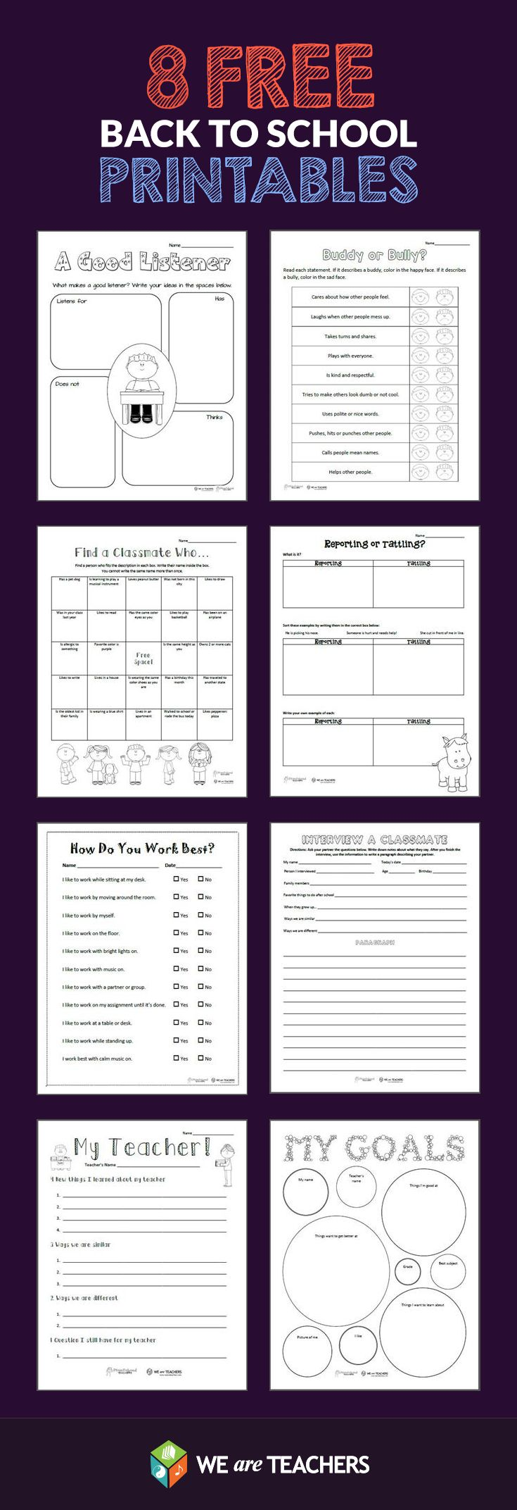 8 Back-to-School Printables from WeAreTeachers! Including: What Makes a Good Listener? Buddy or Bully? Classmate Scavenger Hunt, Goals Sheet, and More! #weareteachers