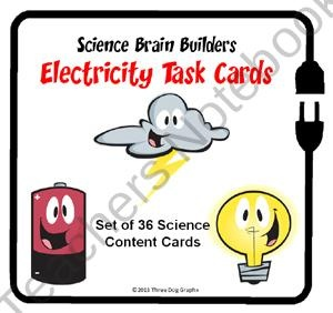 Electricity Task Cards - Science Brain Builders - 36 Cards In All from The Trail 4 Success on TeachersNotebook.com (12 pages)  - Set of 36 multiple choice task cards that quiz students about electricity concepts and vocabulary.