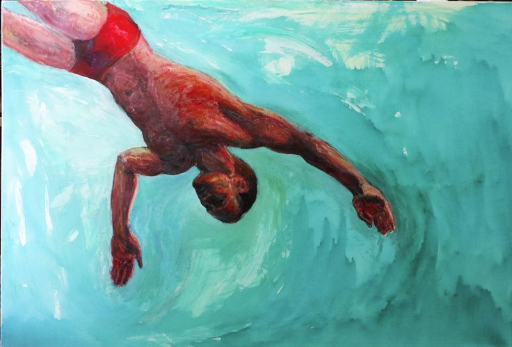 Red from series The Dive. S. Tarnanen, 2015. Acrylics on canvas.
