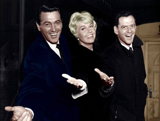 "Doris Day, Rock Hudson, Tony Randall in ""Pillow Talk"""