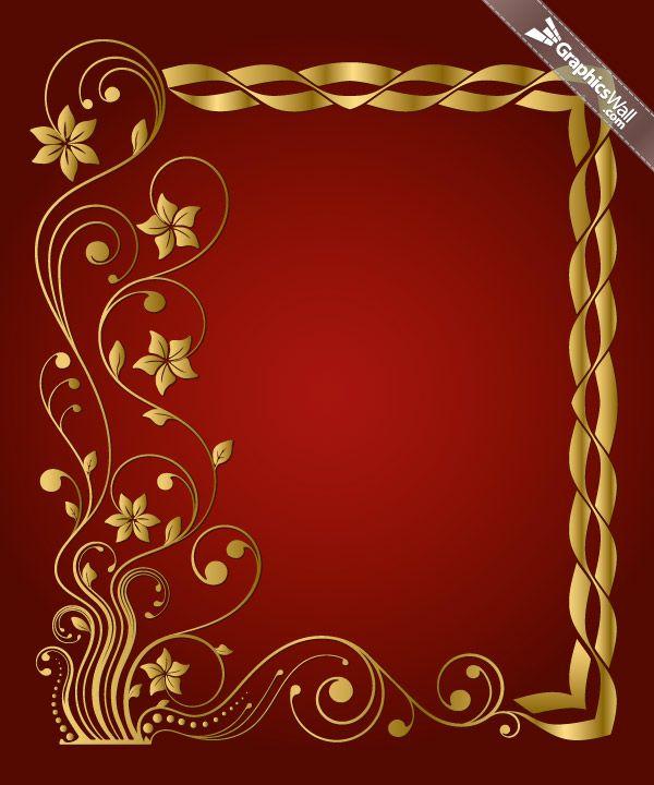 Floral golden frame on red background