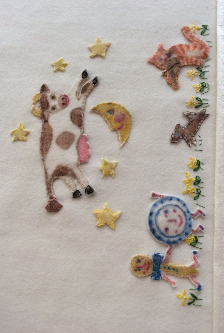 Woollen Nursery Rhyme Baby Blanket.  Hay Diddle diddle the Cat & the Fiddle.  Painted & hand sewn by Marion.