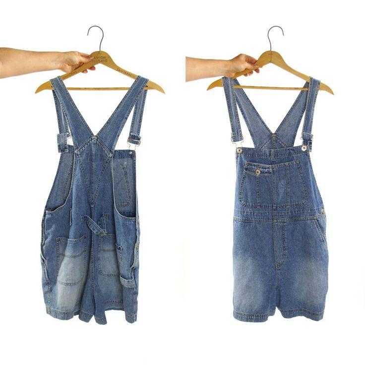 Denim Overalls Shorts / Vintage 1990s Jeans Overalls by Express by SpunkVintage on Etsy