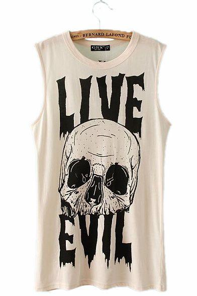 #persunmall Skull and Letter Print Sleeveless T-shirt